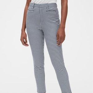 Navy blue and white checkered pants